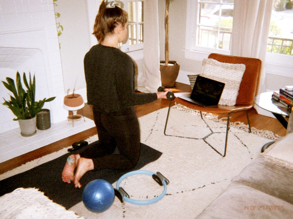 Co-founder Jayme Cyk's second ritaul photo for and repeat. Photo of her working out.