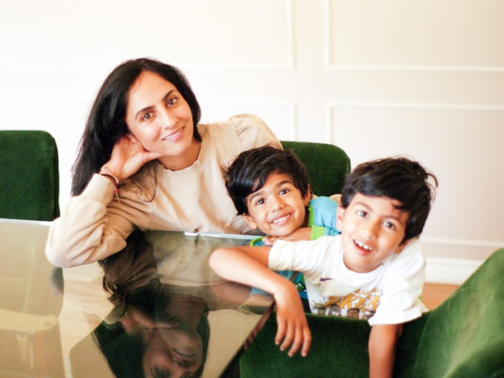 Michelle Ranavat with her kids x and repeat
